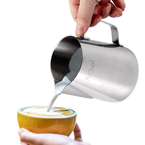 Milk Pitcher, X-chef Stainless Steel Milk Cup Milk Frothing Pitcher 600ml/20fl.oz