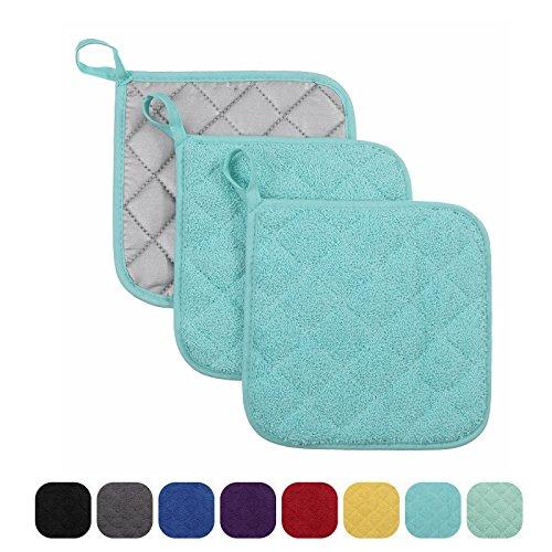 VEEYOO 100 Cotton Pot Holders Hot Pads Quilted Trivet Mats Spoon Rest Heat Resistant 7x7 Aqua Blue