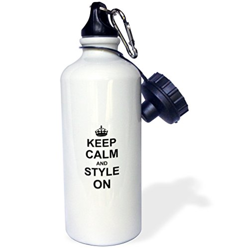 3dRose wb_157732_1 Keep Calm and Style on-Carry on Styling-Fashion Stylist Hairstylist Hairdresser Gift-Fun Humor Sports Water Bottle 21 oz White
