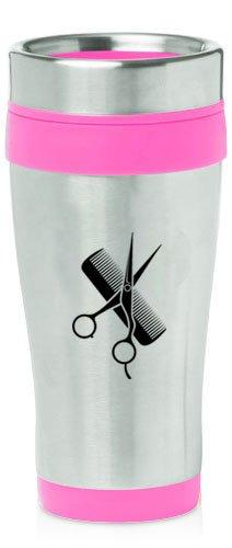 Hot Pink 16oz Insulated Stainless Steel Travel Mug Z1014 Hair Cutting Dresser Scissors Comb