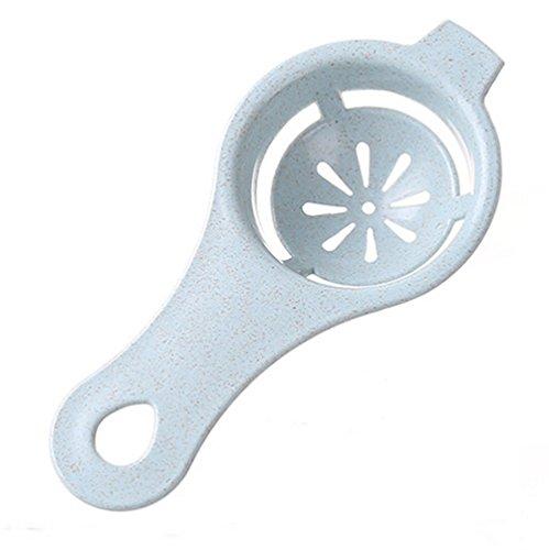 Interbusness 2pcs Egg Divider Yolk White Separator Sifting Gadget Wheat Straw Plastic Filter Sieve Blue