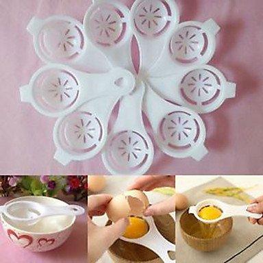 Kitchen White Egg Separator Sifting Gadget Plastic Filter Sieve Divider Holder Random Color