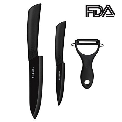 Ceramic Knife Fruit Knife 6 Chef Knife 4 Paring knife Fruit Peeler Black Kitchen Knife Set with Sheaths Cutlery Knife