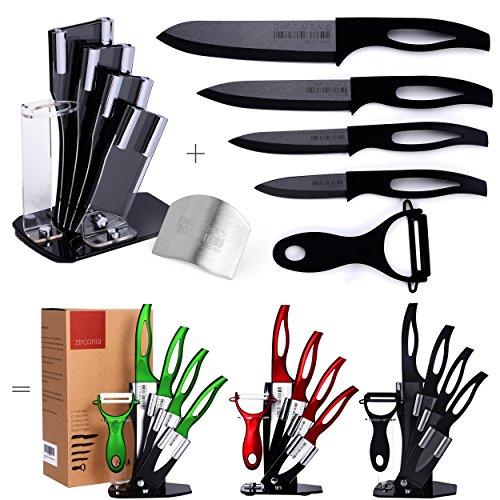 Razor Sharp Anti Germ PREMIUM Kitchen Knives Professional 7 Piece Black Ceramic Knife Set Four Double-Edged Ceramic Knives Ceramic Peeler Knife Holder  FREE GIFT Finger Shield by Zirconia