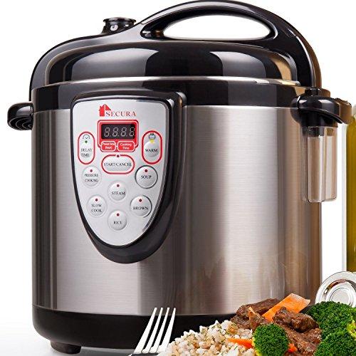 Secura 6-in-1 Electric Pressure Cooker 6qt, 18/10 Stainless Steel Cooking Pot, Pressure Cooker, Slow Cooker, Steamer