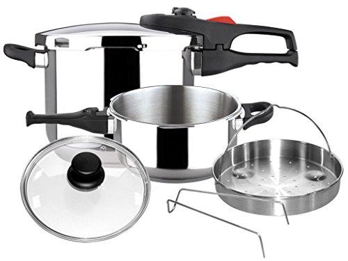 Magefesa 01OPPRAPL47 6-Piece Practika Plus Stainless Steel Pressure Cooker Set, 4 and 6-Quart, Silver