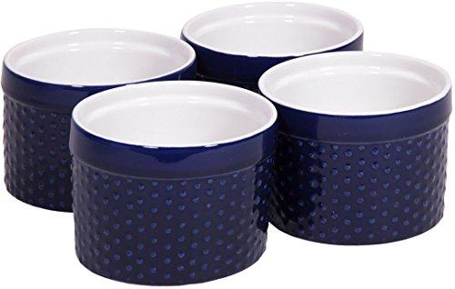 Round Porcelain Ramekin Dessert Dish, Set Of 4 - Oven Safe Souffle Baking Dish, 8-oz (cobalt Blue)