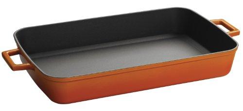 Lava Signature Enameled Cast- Iron 2-3/4 Quart - 8-/12 X 12 Inch Roasting-baking Pan, Orange Spice