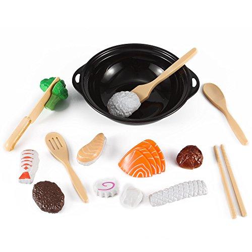 Stir Fry Sushi Slicing Food Playset With Wok