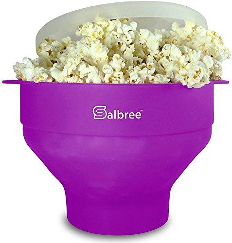 The Original Salbree Microwave Popcorn Popper Silicone Popcorn Maker Collapsible Bowl BPA Free Purple