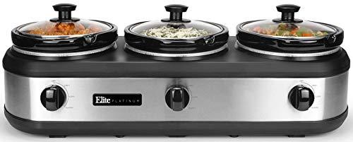 Elite Platinum EWMST-612 Triple Slow Cooker Buffet Server Adjustable Temp Dishwasher-Safe Oval Ceramic Pots Lid Rests 3 x 25Qt Capacity 75 QT Stainless Steel