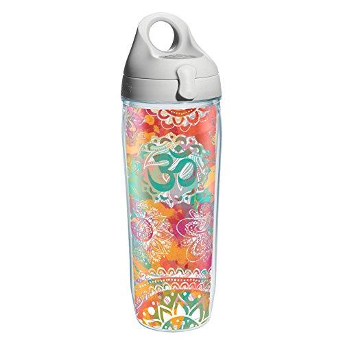 Tervis 1204543 Yoga Om Pattern Wrap Water Bottle with Grey Water Bath Lid 24 oz Clear