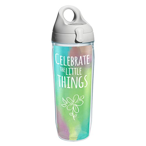 Tervis 1212737 Celebrate The Little Things Wrap Water Bottle with Grey Water Bath Lid 24 oz Clear