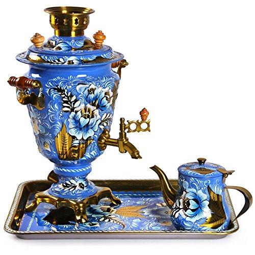 Gzhel Patterns Russian Samovar Tea Maker Set With Tray & Teapot