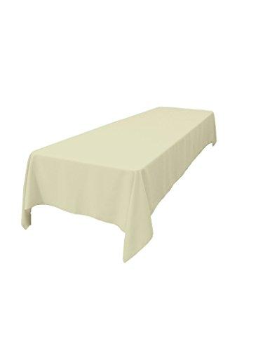 LA Linen Polyester Poplin Rectangular Tablecloth 60 by 144  Ivory