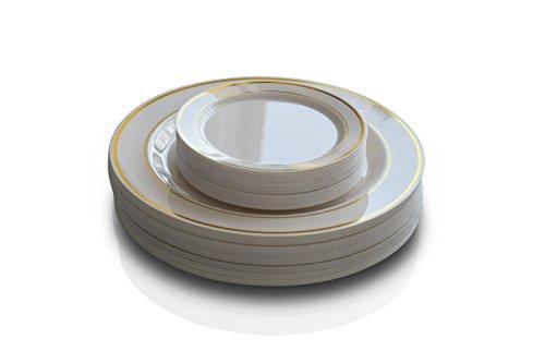 OCCASIONS 50 Pack Premium Disposable Plastic plates  25 x 105 Dinner  25 x 6 Cake plates IvoryGold Rim