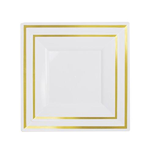 Exquisite 60-Pack premium disposable plastic plates heavyweight square plastic plates 30 x 1025 Inch Dinner Plates 30 75 Inch SaladDessert plates Gold Reflective Rim