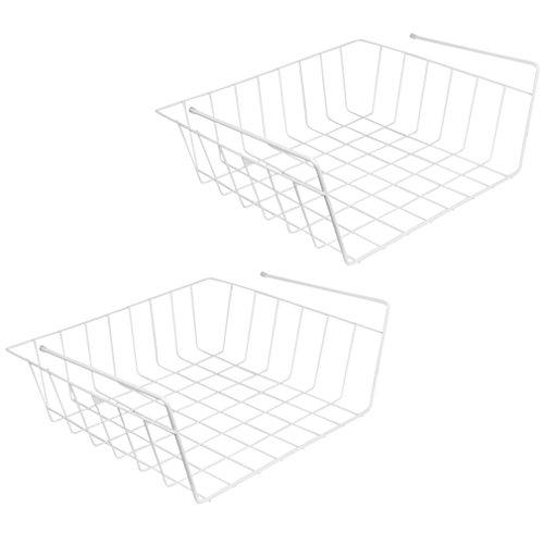 Evelots Under Shelf Basket Wire RackWhiteSlides Under Shelves For Storage 2