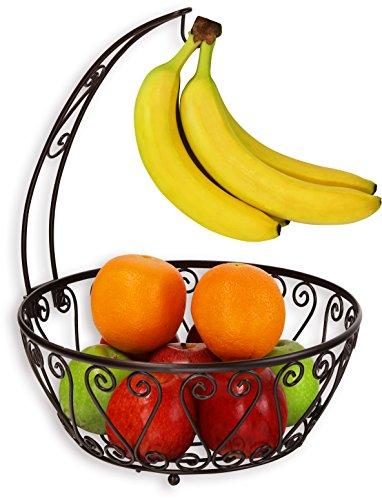 SimpleHouseware Fruit Basket Bowl with Banana Tree Hanger Bronze