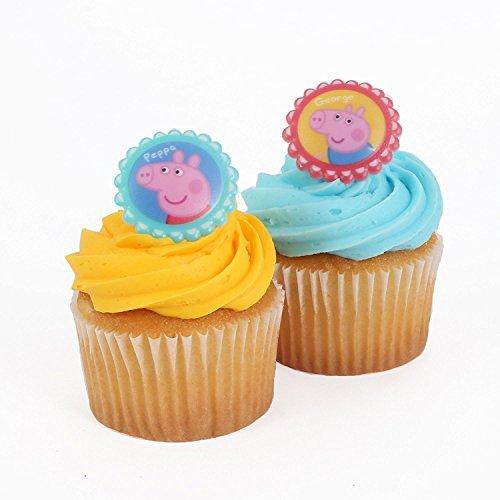Bakery Crafts - Peppa Pig 24 Cupcake Topper Rings 15 x 15