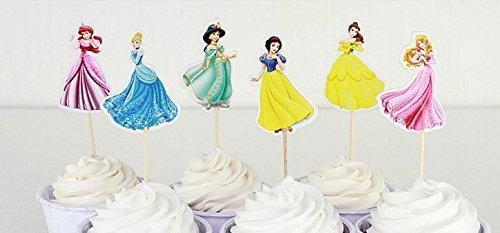 Princess Party Cupcake Toppers Birthday Party Supplies 24pcs 4 Ariel 4 Cinderella 4 Jasmine 4 Snow White 4 Belle 4 Aurora