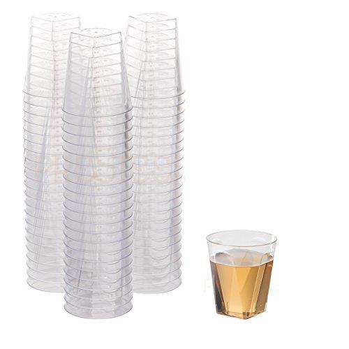 100 Clear Plastic Shot Glasses 2 OZ - Disposable Shot Glasses Bulk - Wine Tasting Cups - Small Plastic Tumbler - Square Shooter Whiskey Mini Shot Cups - small plastic cups bulk