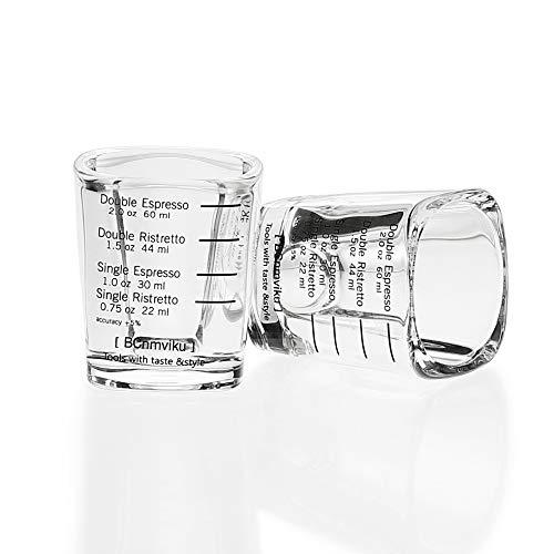 BCnmviku Espresso Shot Glasses Measuring Cup Liquid Heavy Glass for Baristas 2oz for Single Shot of Ristrettos 2 pack