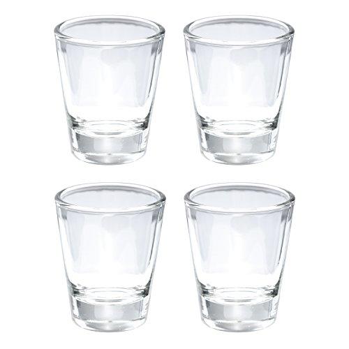 Thirsty Rhino Karan Round 15 oz Shot Glass with Heavy Base Clear Glass Set of 4