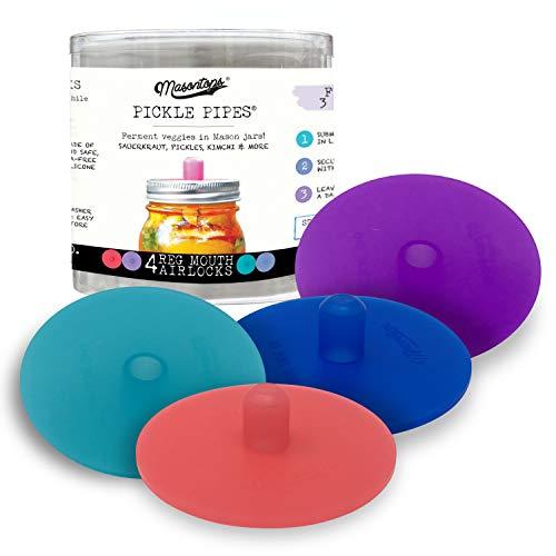 Masontops Pickle Pipes - Waterless Airlock Fermentation Lids - Regular Mouth Mason Jar Fermenter Caps - Premium Silicone