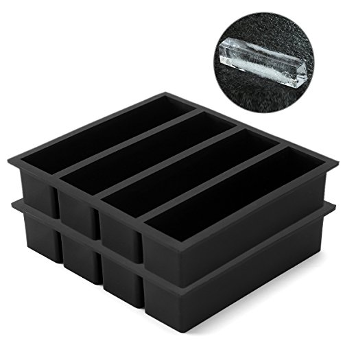 Vinkoe Kitchen Silicone Ice Cube Trays Large for Whisky Collins Ice Cube Mold Tray Also Used for Butter Mold 2 Count