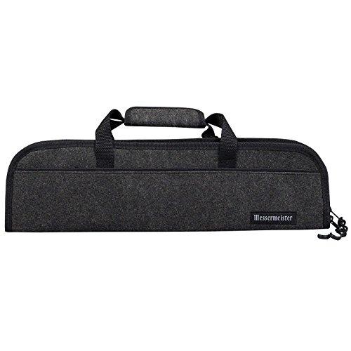 Messermeister 5 Pocket Felt Knife Storage Roll  Bag  Luggage - Charcoal Grey
