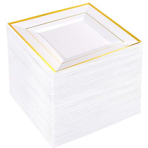 BUCLA 60PCS Gold Rim Plastic Plates-82inch Square Disposable DessertAppetizer Plates-Ideal For Wedding Parties