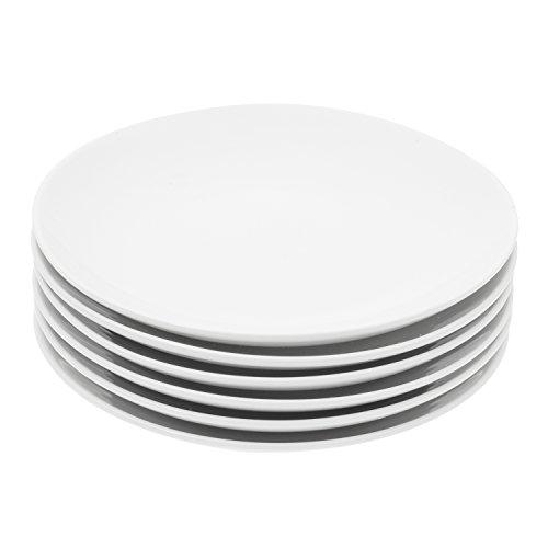 Durable Porcelain 6-Piece Dessert Plate Set Elegant White Serving Plates 6-inch dessert plates