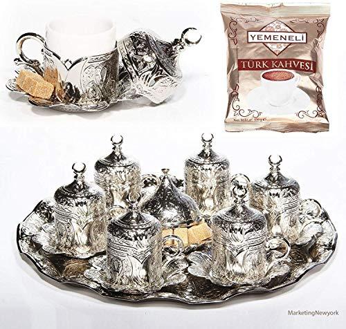 27 Pc Ottoman Turkish Greek Arabic Coffee Espresso Serving Cup Saucer Gift Setsilver