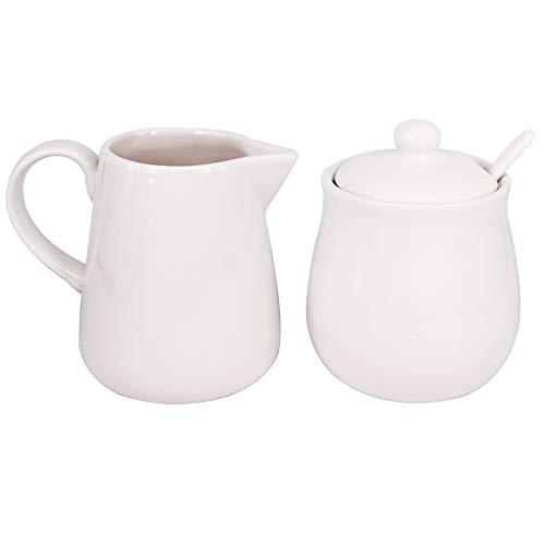 BPFY 11oz White Ceramic Cream and Sugar Set Coffee Serving Sets Sugar Bowl with Lid and Spoon Cream Pitcher Cream Jug Sugar Jar