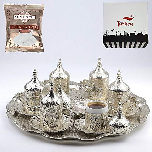 SALE SET of 6 Ottoman Turkish Greek Arabic Coffee Espresso Serving Cup Saucer Set SILVER