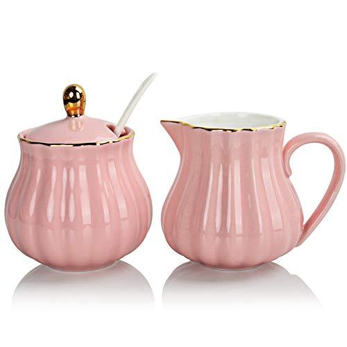 Sweejar Royal Ceramic Sugar and Creamer Set 3 Piece Set with Cream Pitcher Sugar Bowl Sugar Set with Lid Spoon Coffee Serving Set Wedding GiftPink