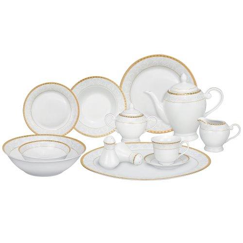 Lorren Home Trends 57-Piece Porcelain Dinnerware Set Ricamo-GD Service for 8