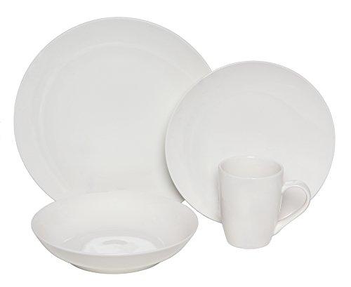 Melange Coupe 16-Piece Porcelain Dinnerware Set White  Service for 4  Microwave Dishwasher Oven Safe  Dinner Plate Salad Plate Soup Bowl Mug 4 Each