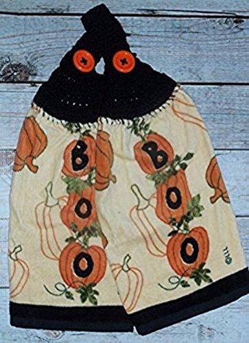 Crochet Top Towel Halloween Decor Halloween Dishtowel Boo Towels Set of 2