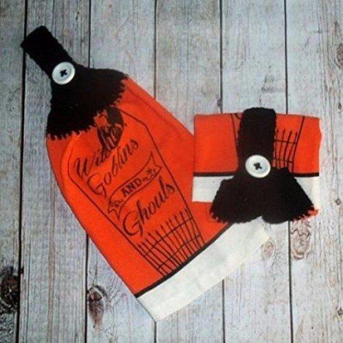 Crochet Top Towel Halloween Decor Halloween Dishtowel Set of 2