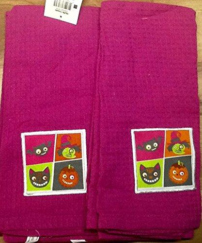 Witch Bat Jack O Lantern Halloween Dish Towels Set of 2