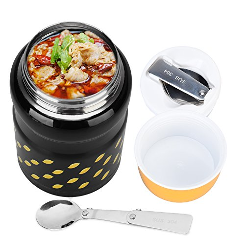 Uarter Stainless Steel Food Jar Multi-functional Lunch Thermos Portable Vacuum Insulated Food Container with Folding Spoon Suitable for School Work and Picnics 550ml Capacity