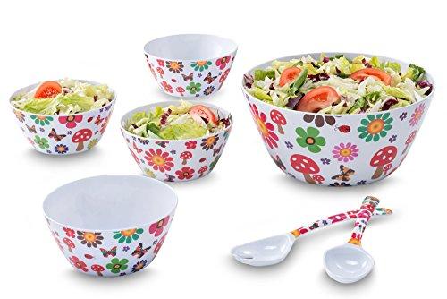 Francois et Mimi 7 Piece Melamine Salad Bowl Set with Utensils Floral