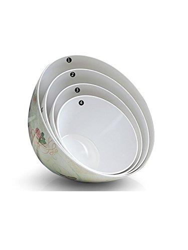 WJL Circular Melamine Salad BowlParty Snack or Mixing Salad Bowls-Set for PastaCerealDessertsRiceSoup or Side DishesPurple Flowers