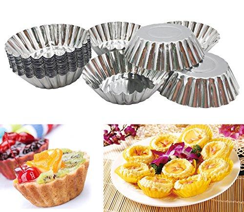 20pcs Egg Tart Aluminum Cupcake Cake Cookie Mold Lined Mould Tin Baking Tool