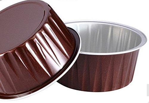 KEISEN 3 25 mini Disposable Aluminum Foil Cups 125ml 100PK 4OZ for Muffin Cupcake Baking Bake Utility Ramekin Cup COFFEE