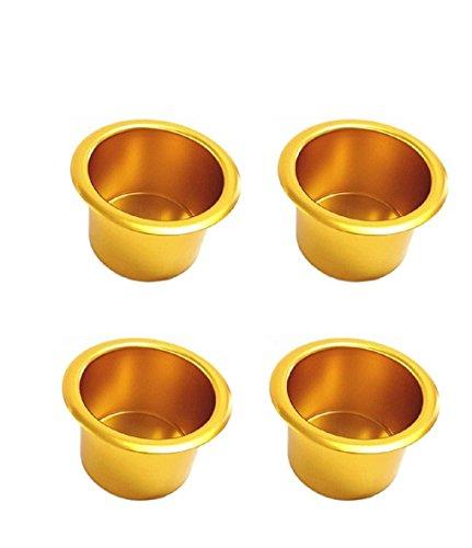 LIPOVOLT Gold Jumbo Aluminum Poker Table Cup Holders Set of 4
