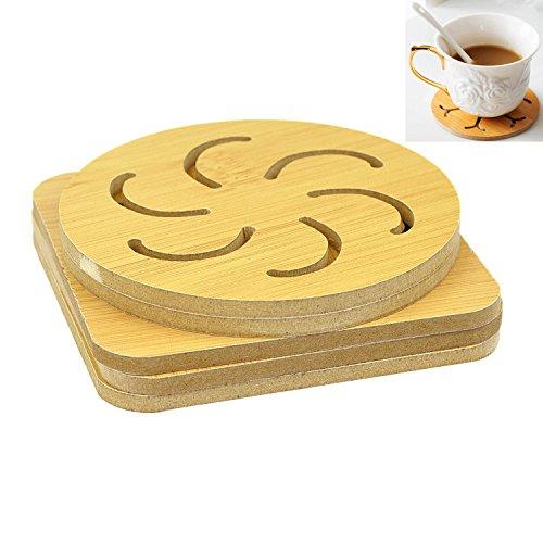 Eyech 5Pcs Cartoon Wood Cup Mat Bar Mats Kitchen Decor Mat Coasters for Coffee Tea Milk  Anti-Slip Heat Insulated Pads