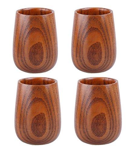 MuNiSa Hand-made Wooden Tea Cup Wine Sake MugSet of 4